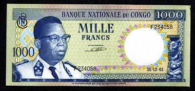 Banque Nationale du Congo 1000 Francs 1961 P-8 Choice About Unc
