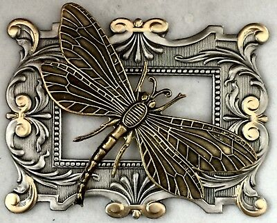 """EXTRA SUPER LARGE 2 1/4"""" INCH Stamped Brass Vintage """"DRAGONFLY """" Picture Button"""