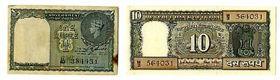 Government of India 1 Rupee 1940 P-25a KGVI + Reserve Bank 10 Rupees P-69b UNC