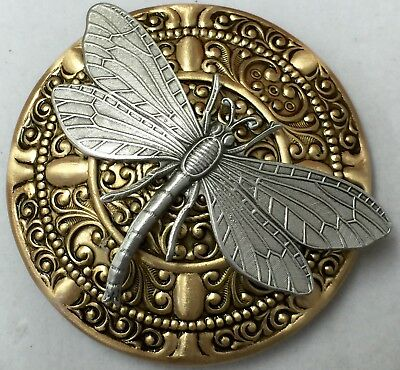 """LARGE DOMED Brass~Great For Arts & Crafts ~Antique~""""DRAGONFLY """"~Button~2 1/4"""""""