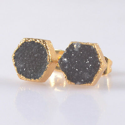 8mm Hexagon Natural Agate Druzy Geode Stud Earrings Gold Plated T033650