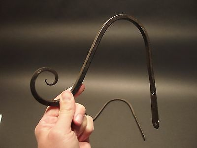 2 Antique Vintage Style Blacksmith Forged Iron Hook Plant Lantern Hanger