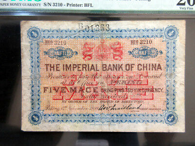 China. Imperial Bank of China 1898 Peking Branch Issue. 5 Mace, P-A39a PMG 20 VF