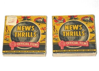 """TWO REEL  """" NEWS THRILLS """" WWII  1942 & 1943 Vintage film 8mm Official Films"""