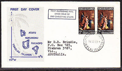 Tokelau Islands 1969 Outgoing Mail Christmas First Day  Cover - addressed