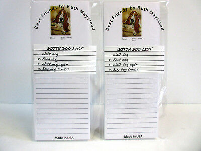 New Basset Hound Magnetic Refrigerator List Pad Set of 2 Pads By Ruth BAH-5