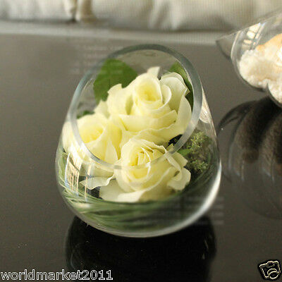 Simple Transparent Glass Vase With White Simulation Flowers Roses Decoration