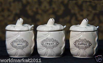 European Rural Style Ceramic White Spices/Sugar/Coffee Seasoning Box+Spoon 3 Pcs