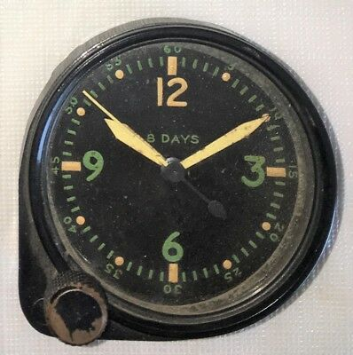 Original WWII USAAF Army Air Corps Aircraft Cockpit 8 Day Clock
