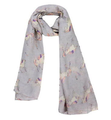 Horse & Western Fashion Ladies Horse Print Scarf Grey / Pink Horses