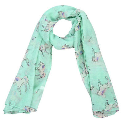 Horse & Western Fashion Ladies Horse Print Scarf Mint / Pink Horses
