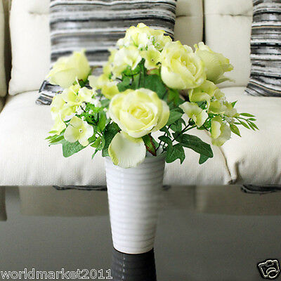 Room AdornmentS Simple White Ceramic Vase + Yellow Rose Artificial Flowers