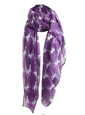 Horse & Western Fashion Ladies Horse Print Scarf Purple / White Horses