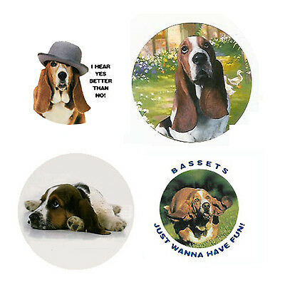 Basset Hound Magnets :4 Cool Bassets for your Fridge or Collection-A Great Gift