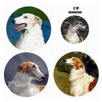 Borzoi Magnets:4 Borzoi/Russian Wolfhounds 4 a Fridge or Collection-A Great Gift