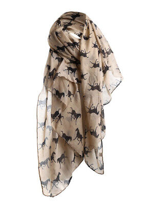 Horse & Western Fashion Ladies Horse Print Scarf Beige / Brown  Horses