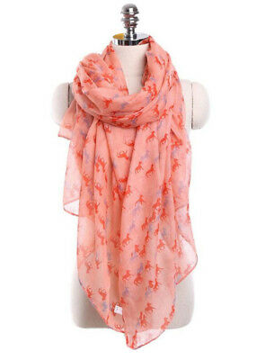 Horse & Western Fashion Ladies Horse Print Scarf Watermelon /grey Orange Horses