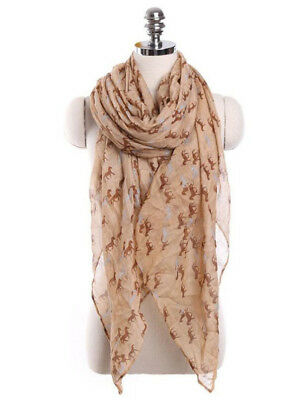 Horse & Western Fashion Ladies Horse Print Scarf Brown /grey Brown  Horses
