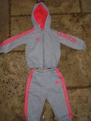 age 9 - 12 months girls adidas  full tracksuit grey and pink fleece