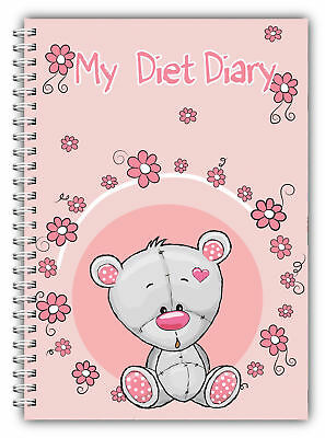 A5 My Diet Diary Slimming Tracker Food Diary Weight Loss Journal Pink Bear