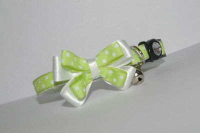 Lime Green & White Spots Adjustable Bow Breakaway Quick Release Cat Collar