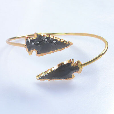 Hand Knapped Arrowhead Black Obsidian Bangle Gold Plated T033663