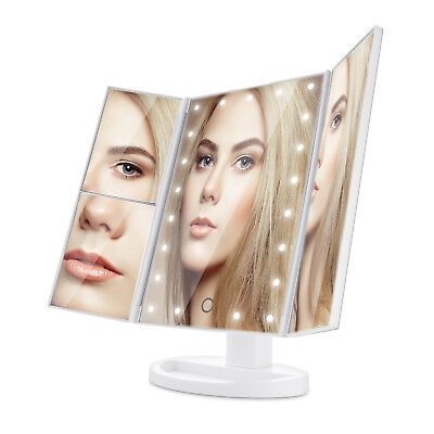 Tri-Fold Stand Vanity Makeup Cosmetic Mirror 21 LED + Magnification Touch Screen