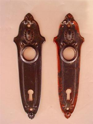 2 Antique Door Key Metal Back Plates