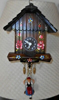 Vintage Hand Painted German Chalet Clock w/ Bouncing Girl & Key Wind Movement