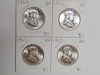 Lot of 4 BU 1963 Franklin Silver Half Dollars Uncirculated Philadelphia Coins