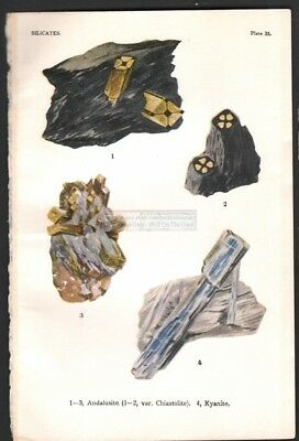1916 Minerals Print of ANDALUSITE - KYANITE