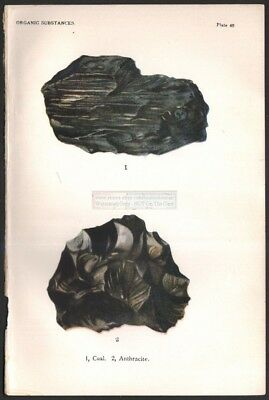 1916 Minerals Print of COAL - ANTHRACITE