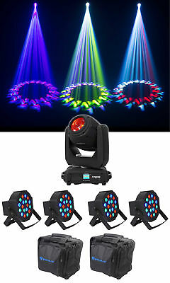 Chauvet DJ Intimidator Beam 140SR DMX Moving Head Light+(4) Wash Lights+Bags