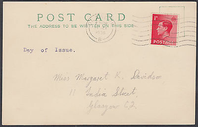 1936 KEVII 1d scarlet FDC Postcard; Glasgow M/C; Local