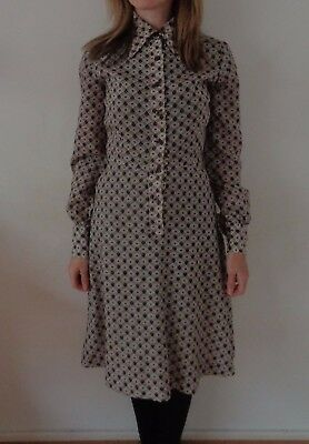 Vintage 70's Frank Usher Printed Secretary Day Dress Geek Chic S 8 10