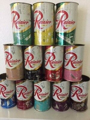 ALL 12 Diff DESIGNS IN 12 DIFF COLORS  Rainier Jubilee Beer Cans SET #2