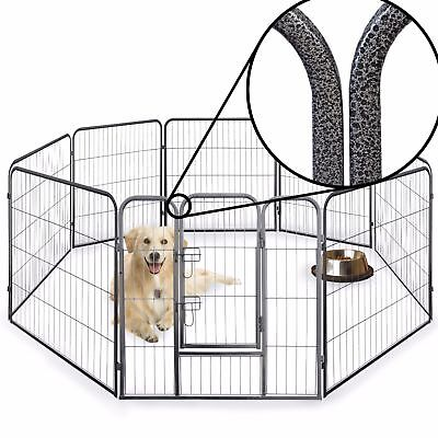 8 Side 100cm Heavy Duty Pet Pen Whelp Play Metal Dog Cage Crate Run Puppy
