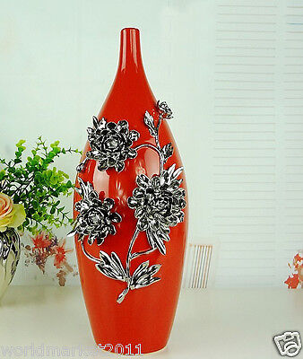 Modern Red+Silver Ceramic Height 40cm Home Accessories Decoration Vase