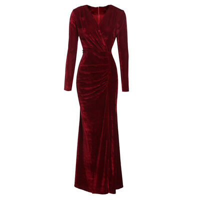 Women V-neck Long Sleeve Velvet Maxi Dress Bodycon Evening Cocktail Ball Gown BM