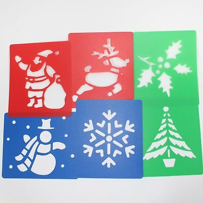 Christmas stencils washable plastic father christmas snowman reindeer pack of 6