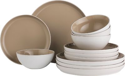 Heart of House Sherbourne 12 Piece Porcelain Dinner Set - Brown -From Argos ebay
