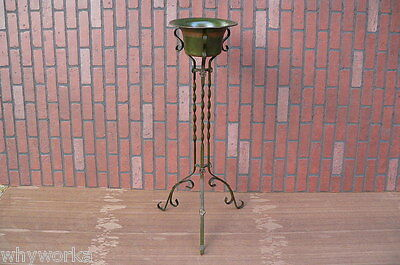 Antique Early 1900s Hand Wrought Iron Copper Arts & Crafts Plant Fern Stand