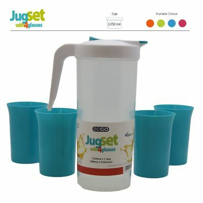 BPA Free Plastic Jug 4 Cups Glasses Set Home Garden BBQ Kids Party Pitcher