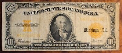 1922 Ten Dollar US Gold Certificate $10. Currency Large Note Gold Seal