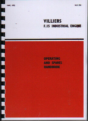 """Villiers """"F.15'' Industrial Stationary Engine Operating Parts Manual Book"""