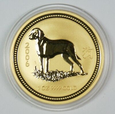 2006 $100 Australia 1 Oz. Gold Lunar Year of the Dog Commemorative Coin