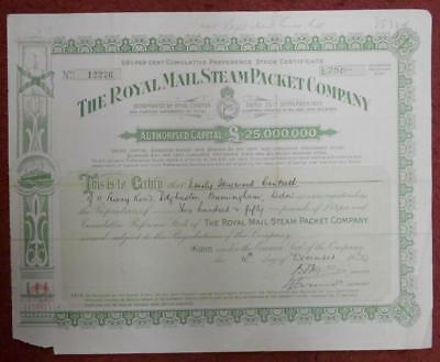 30985 GB 1934 Royal Mail Steam Packet £250 Preference Stock certificate