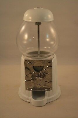M&M White Gumball Candy Dispensing Machine Metal and Glass