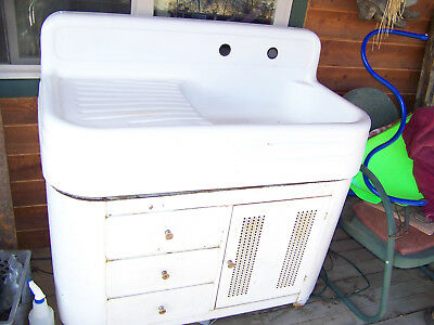 "Vintage White Porcelain Ranch Sink 42"" With Metal Cabinet Nice"