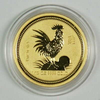 2005 $15 Australia 1/10 Oz. Gold Lunar Year of the Rooster Commemorative Coin